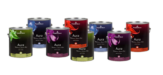 We carry the new Aura line of paint from Benjamin Moore