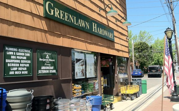The front of the Greenlawn Hardware Store